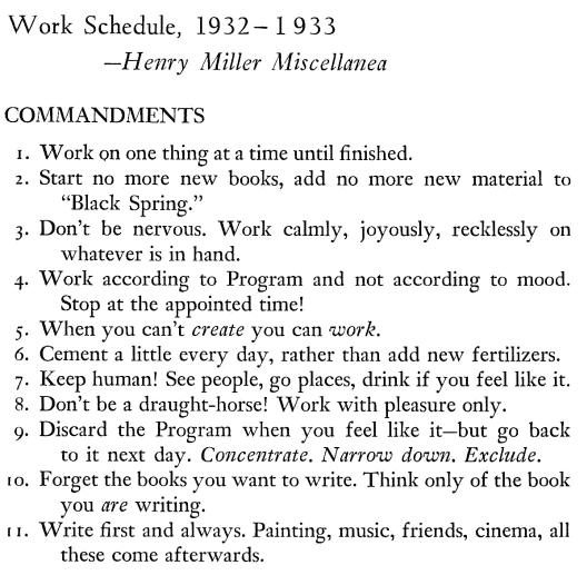 Henry Miller, kreativ schreiben, kreativ sein, tipps, regeln
